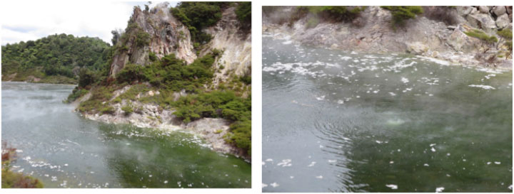 Left to right: More views of Frying pan lake, Cathedral steaming rock and spots of hot water bubbling the processes release variable amounts of hydrogen sulfide (H2S) and carbon dioxide (CO2) gas depending on water pH.