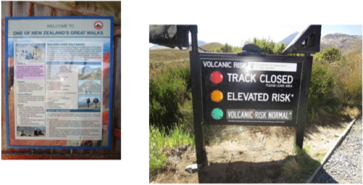 Left: Tongariro Crossing trail (left). The Tongariro complex includes several craters still volcanically active today. The last explosion occurred in 2013. Random eruptions also occurred in 1995 and 1996. Right: Continuous monitoring of volcanic activity status.