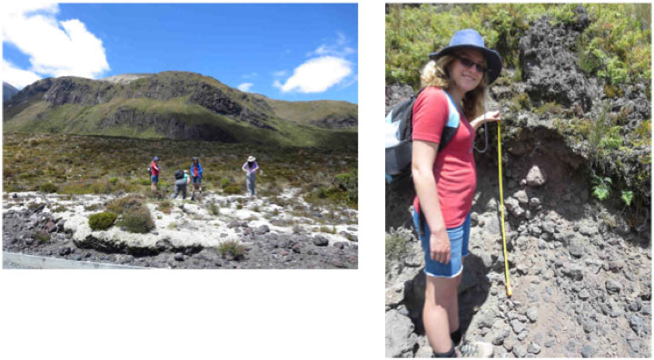 Left: More lava flow mapping for our group. Right: Anna's first ever soil profile